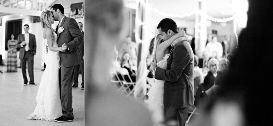 bride and groom first dance at casual campsite wedding