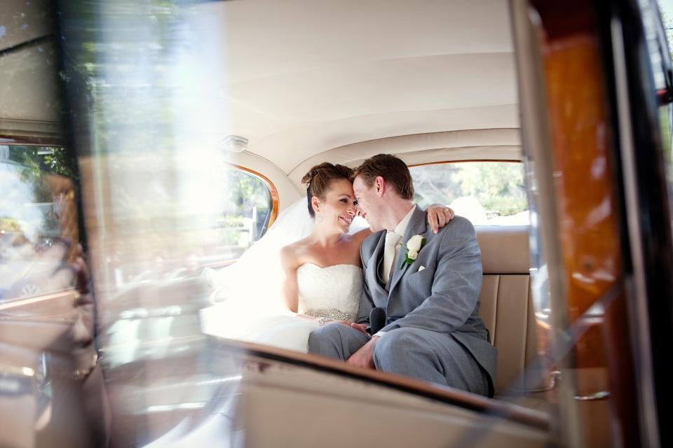 just married, greek wedding Bride and groom in car Melbourne