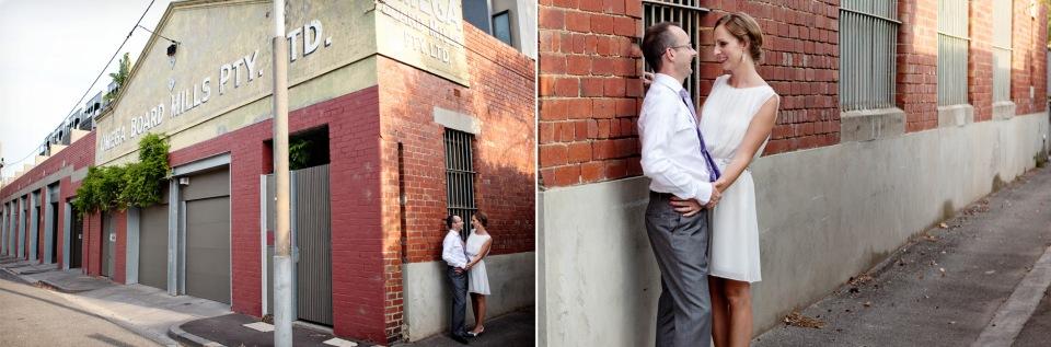 bride and groom in Carlton laneways