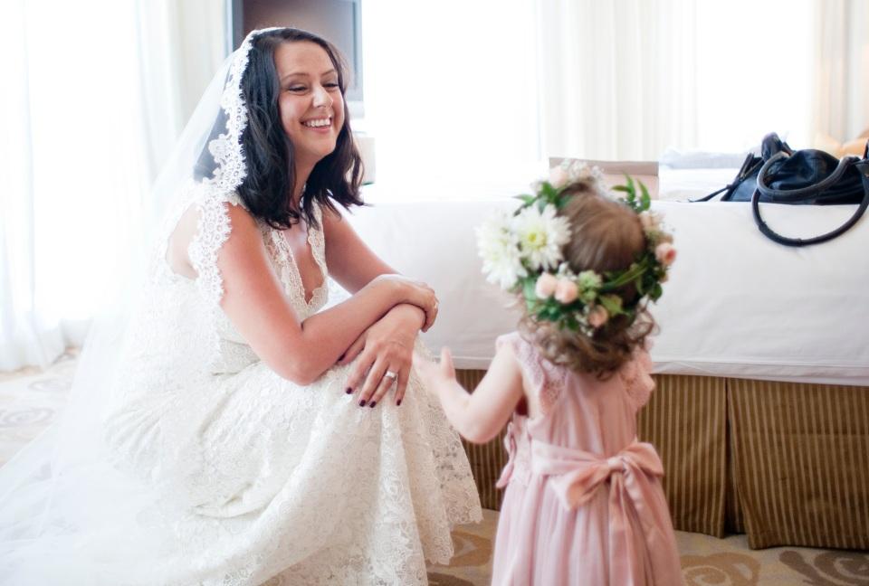 Bride with flower girl at fitzroy gardens wedding