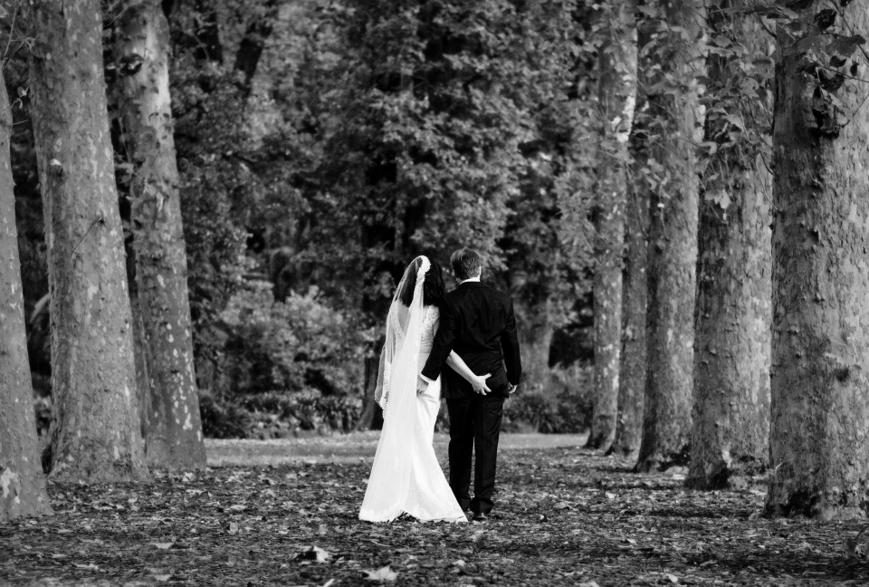 funny bride and groom pinching in the fitzroy gardens