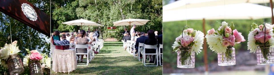 wedding flowers at outdoor ceremony in the Fitzroy Gardens, Melbourne