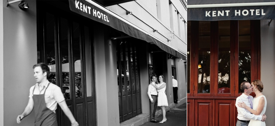 Bride and groom infront of Kent Hotel, Carlton, Melbourne