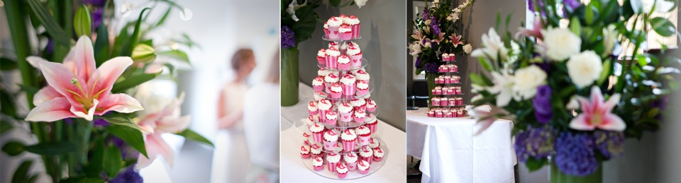 Melbourne Wedding flowers and pink cupcakes