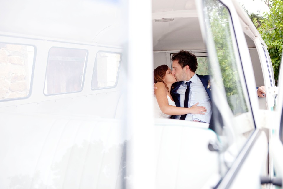 Bride and groom with a kombi at their Yarra Valley winery Wedding