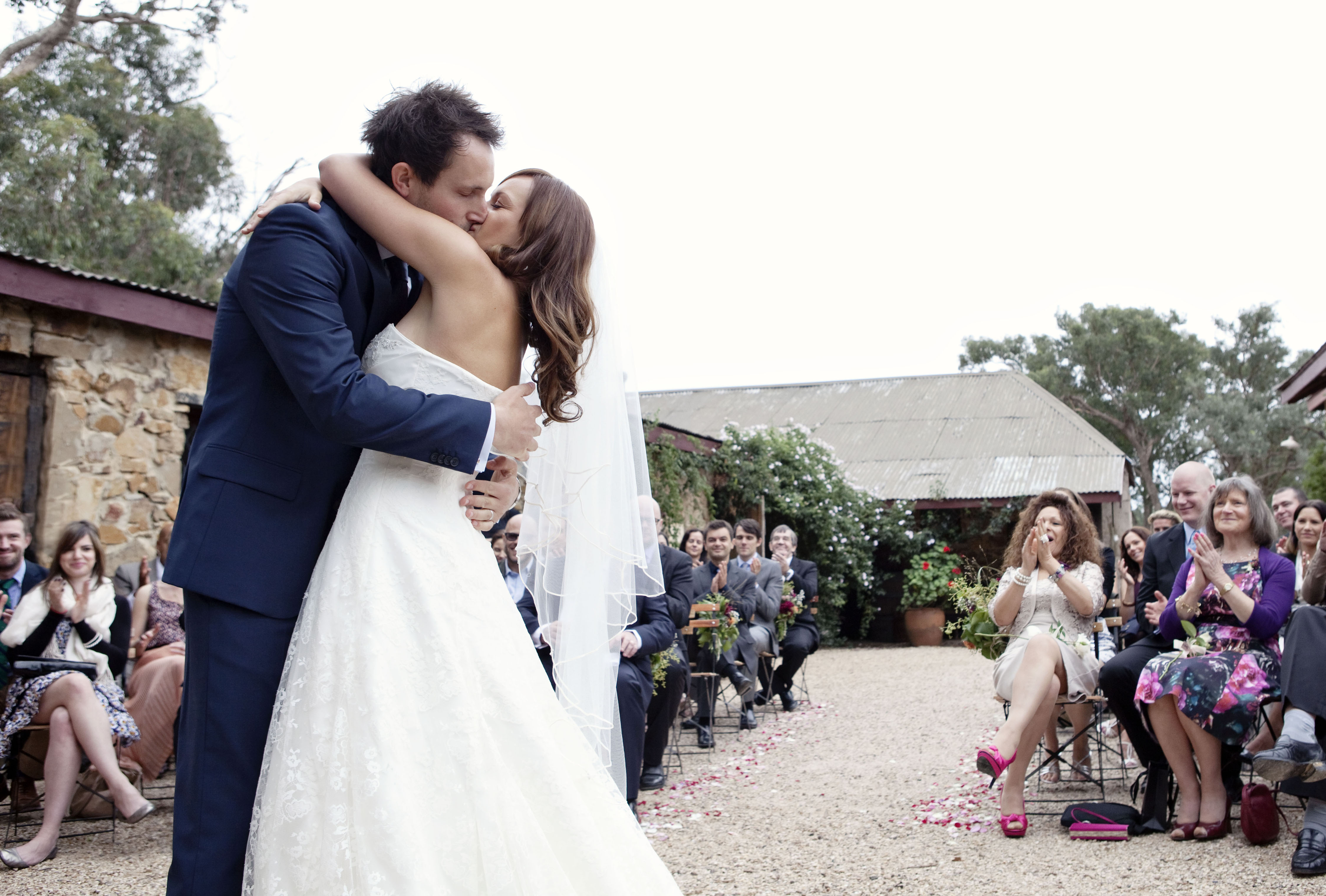 Bride and groom First kiss a Panton Hill Wedding - yarra Valley