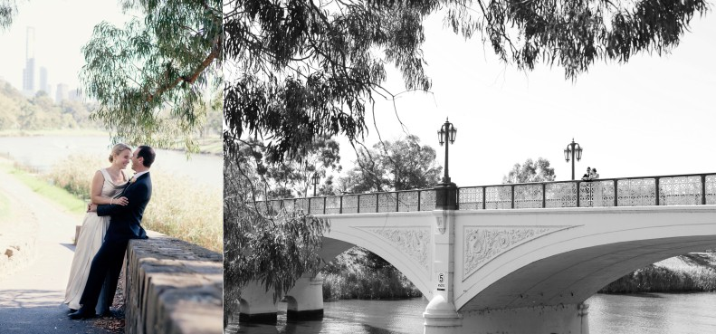 bride and groom wedding photos at morell bridge Melbourne botanic gardens