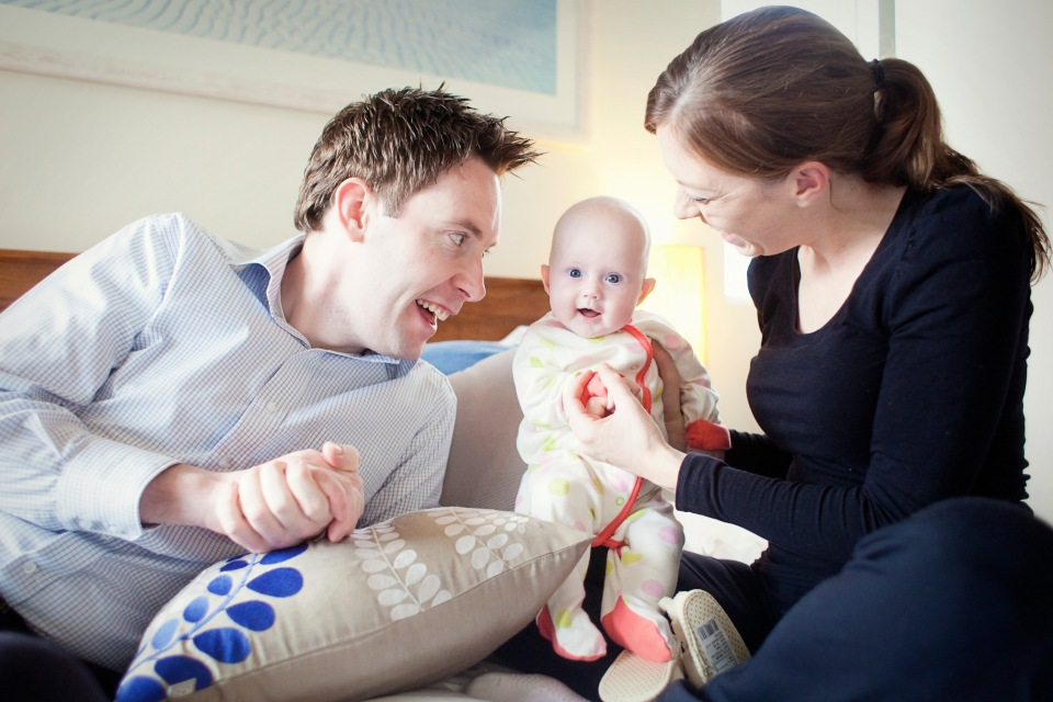 natural photo of Newborn baby with parents in Melbourne home