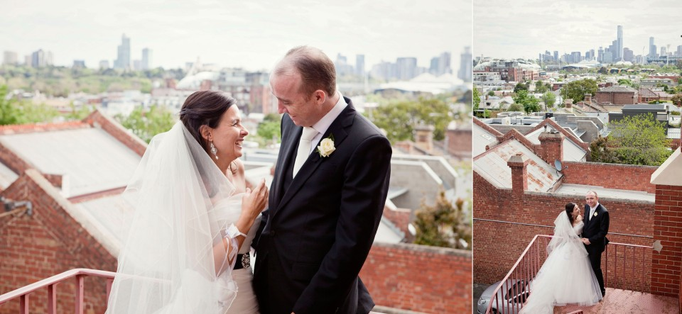Melbourne City backdrop wedding photos