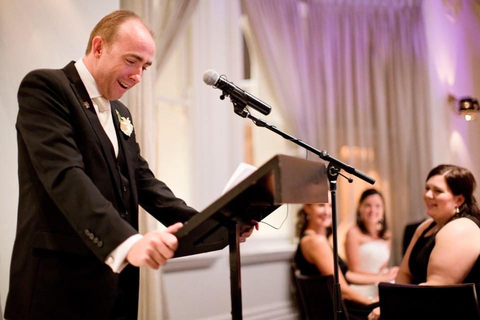 Melbourne wedding groom making speech at ripponlea wedding