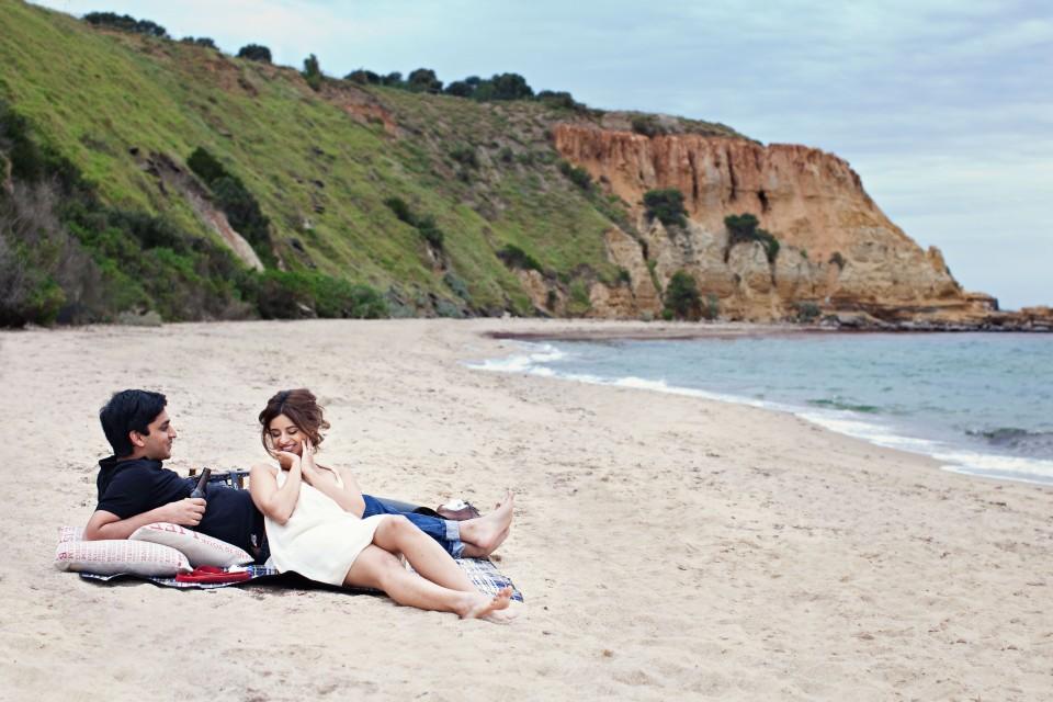 Melbourne engagement photos on Brighton Beach