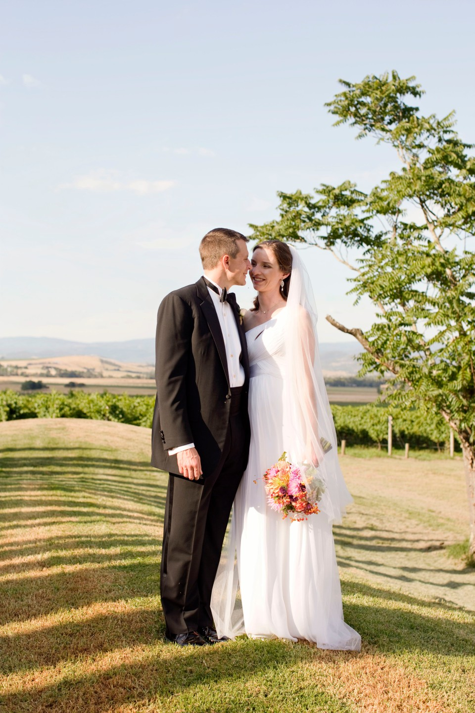 Bride and groom at relaxed winery wedding in Yarra Glen