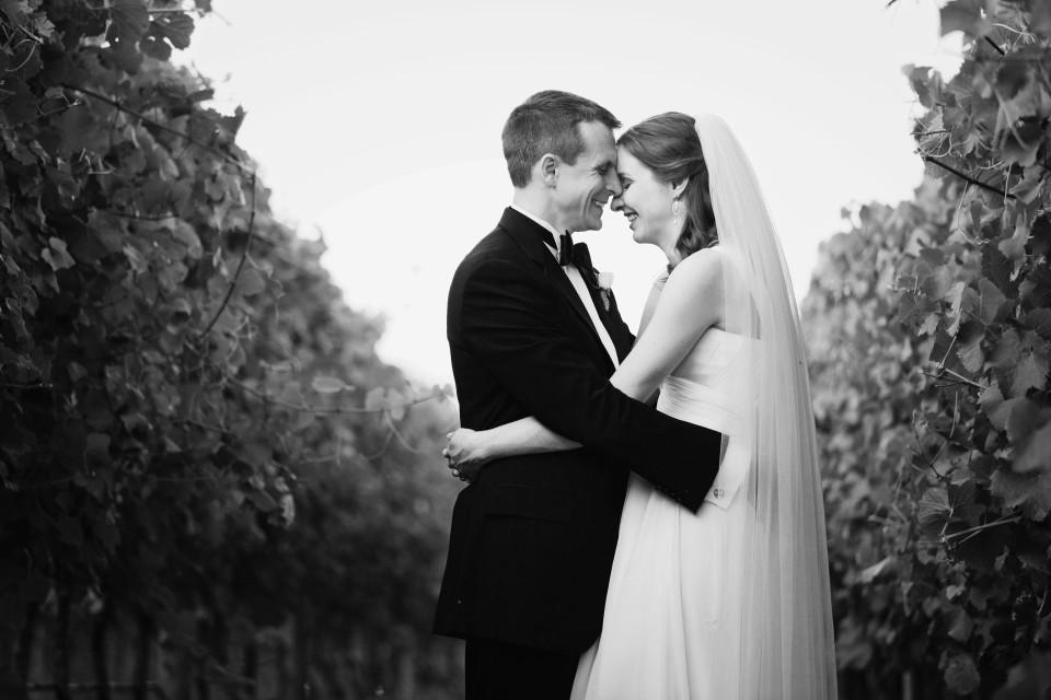 Bride and groom in vineyard at Stones of Yarra Valley