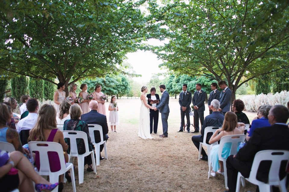 wedding ceremony at a lavender farm in Daylesford
