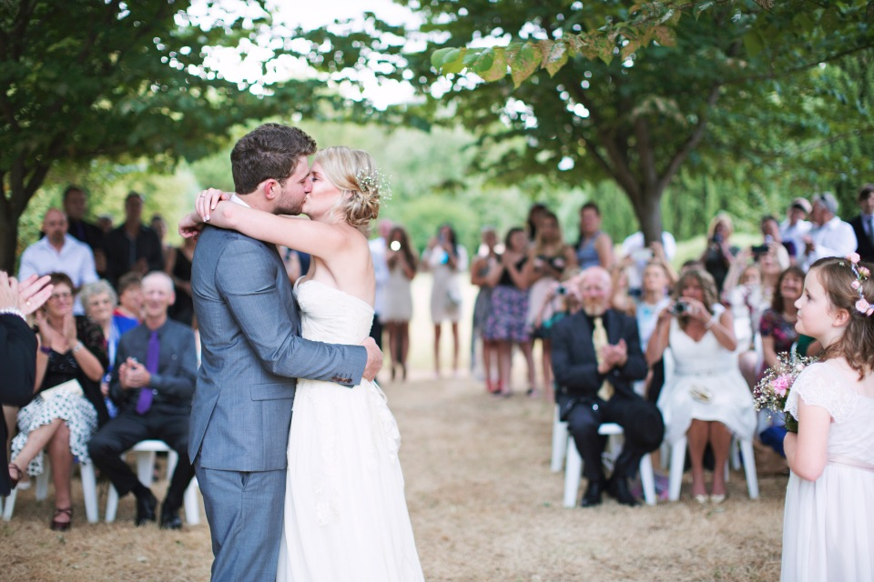 Bride and groom first kiss, Daylesford garden wedding