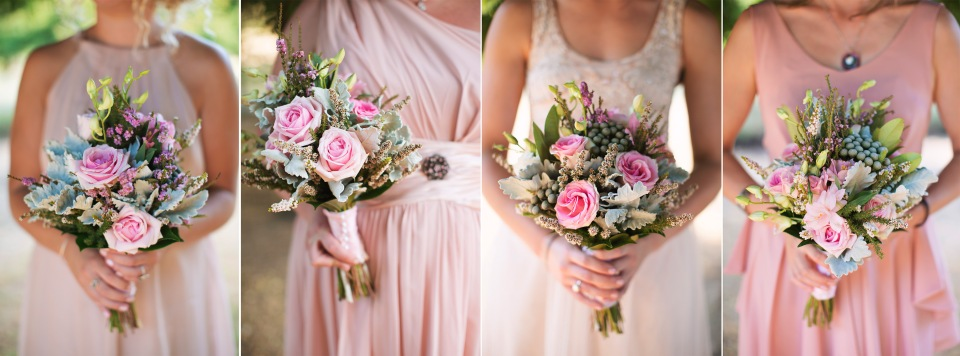 Daylesford bridesmaid colours, pink/blush bouquets and dresses