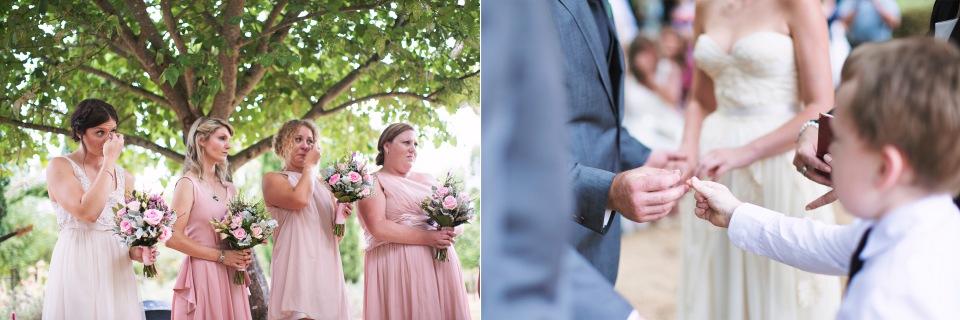emotional wedding ceremony at Lavendula