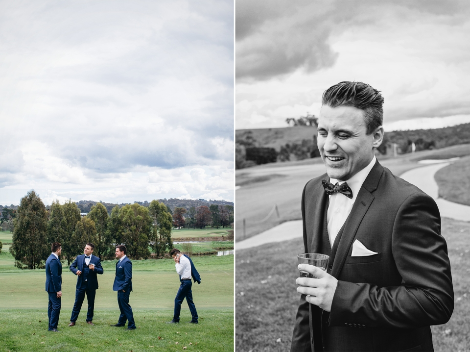 Groom on golf course at Yarra Valley Lodge