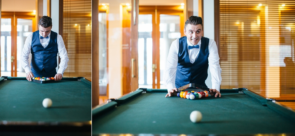 Groom playing pool at Yarra Valley Lodge Wedding