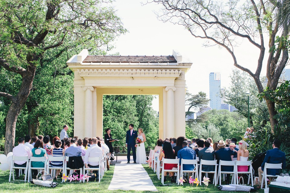 Wedding ceremony at the band stand in the Fitzroy gardens