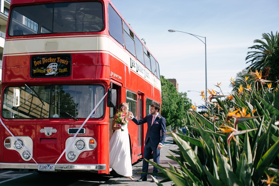 Melbourne wedding double decker bus