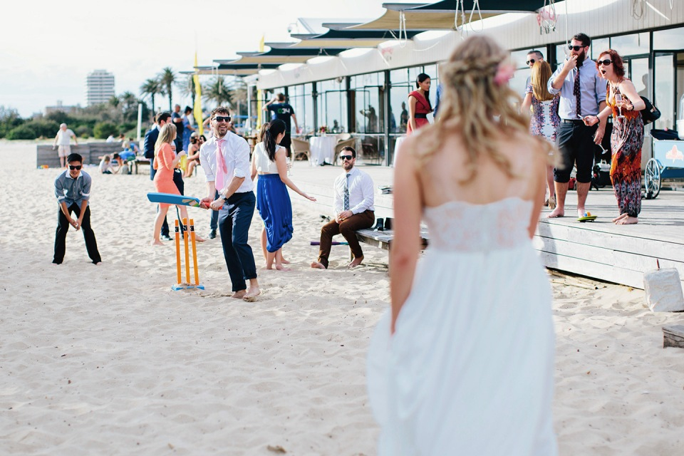 Beach games at wedding in St Kilda